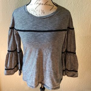 LOFT striped top with trumpet sleeves